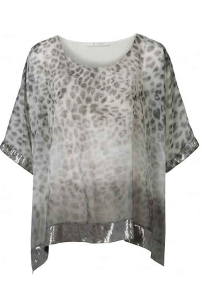 Floaty Leopard Print Top With Seq Trim