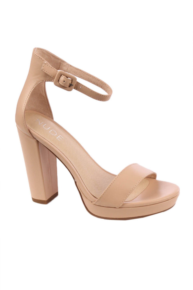 Flamenco Heel in Nude Leather by Nude Frockaholics.com