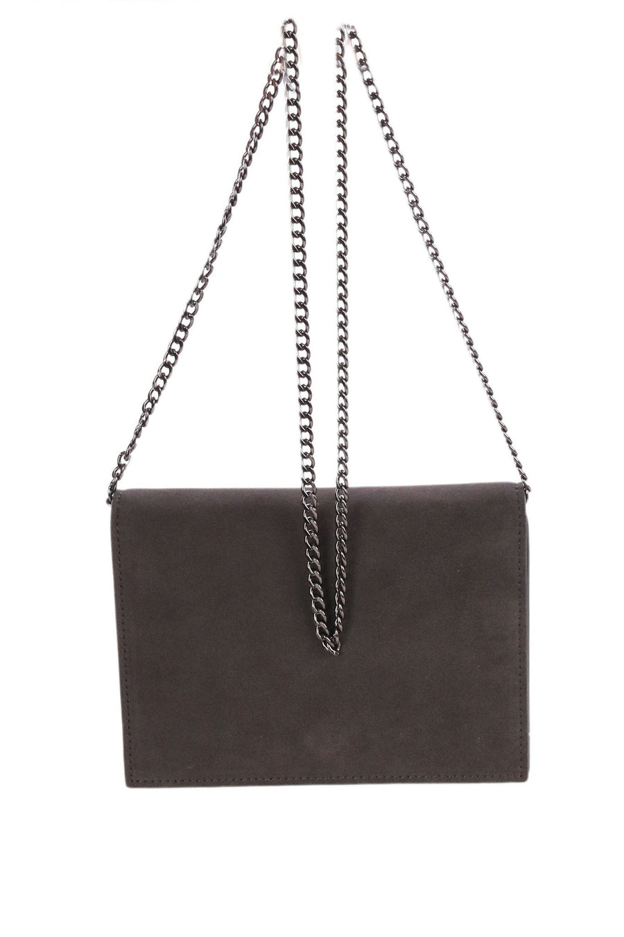 Dark Grey Suede Leather Clutch by Peter Lang Frockaholics.com