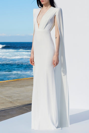 Clemence V-Neck Long Sleeve Gown