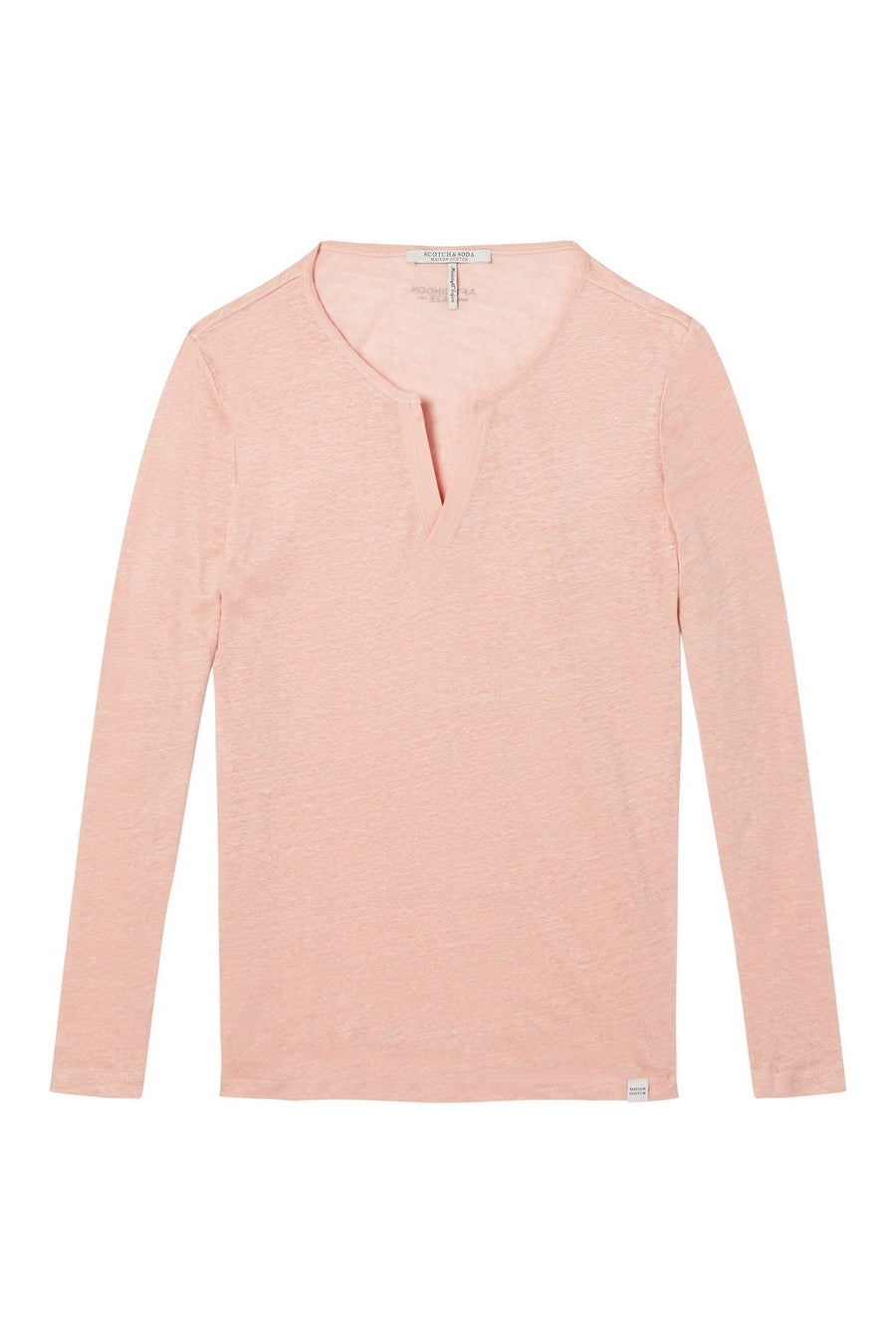 Linen Long Sleeve Tee with Woven Details in Blush