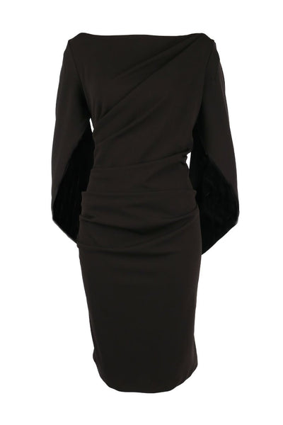 Victoria Cape Dress in Black Dresses Quba