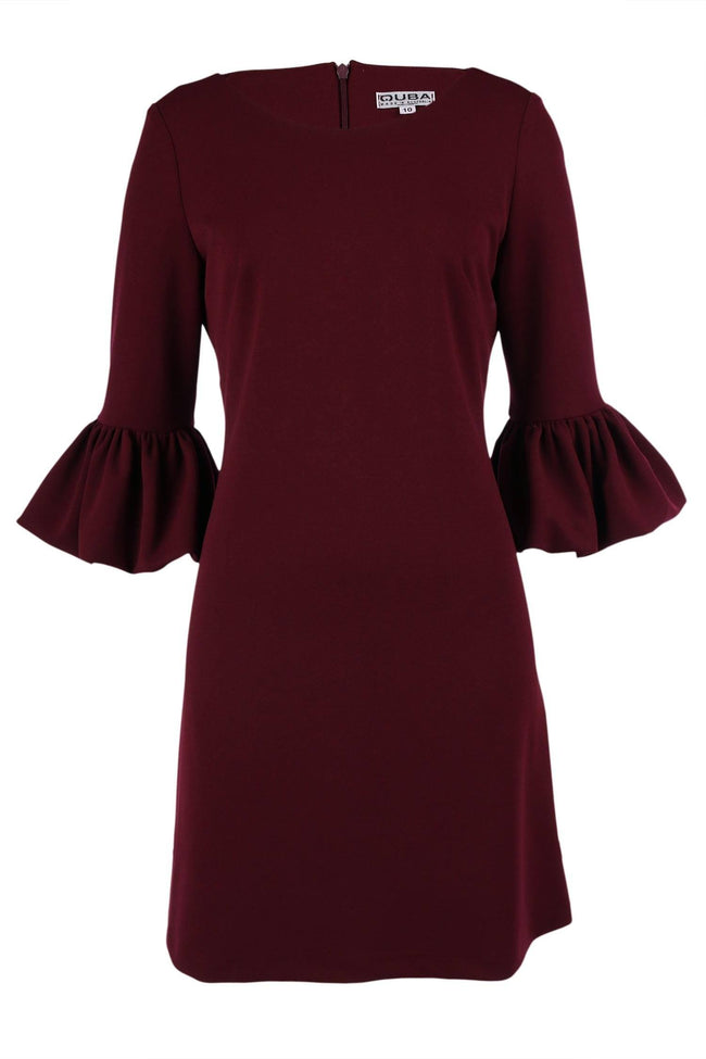 Shop Online Remi Bell Sleeve Dress in Burgundy by Quba  Frockaholics Dress