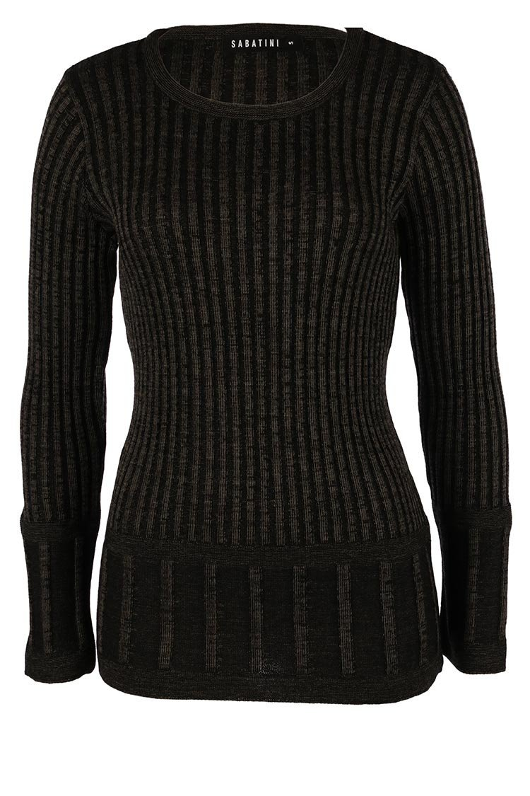 Twotone Knit Top in Military