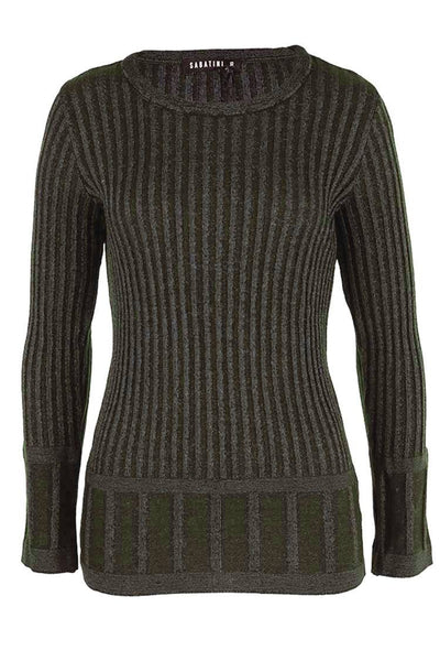 Pleated Two-Tone Knit in Military Tops Sabatini