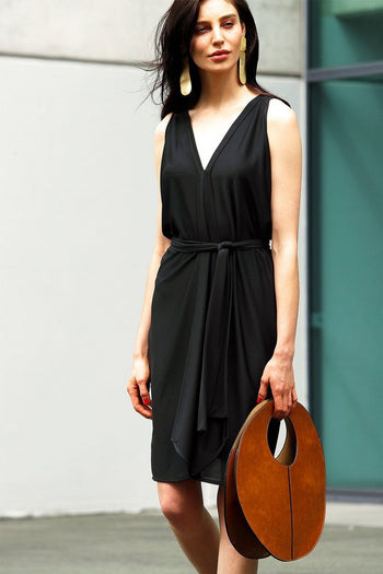 Column Drape Dress in Black