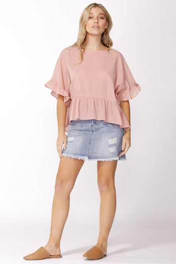 Ruffle Check Top in Blush