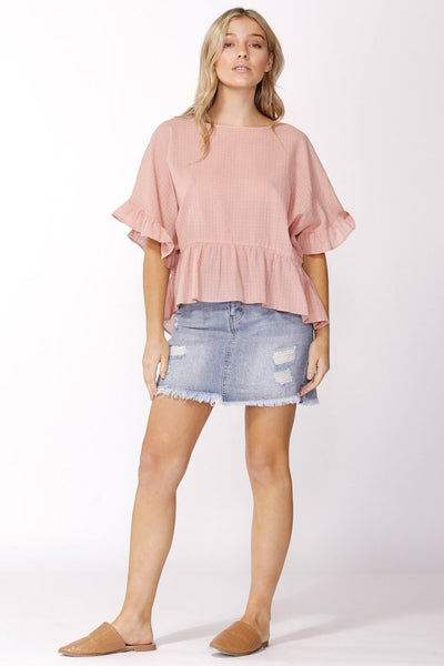Ruffle Check Top in Blush Tops SASS