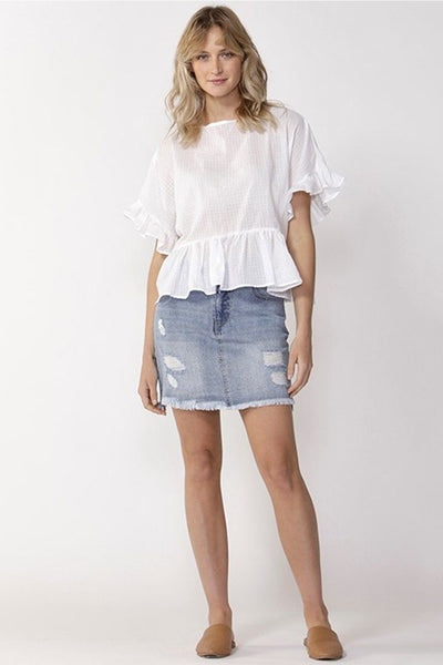 Ruffle Check Top in White Tops SASS