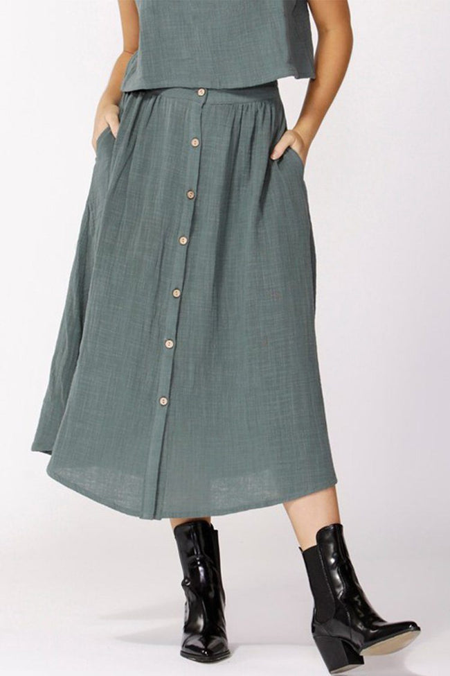 Lost Dreams Buttoned Skirt in Forest