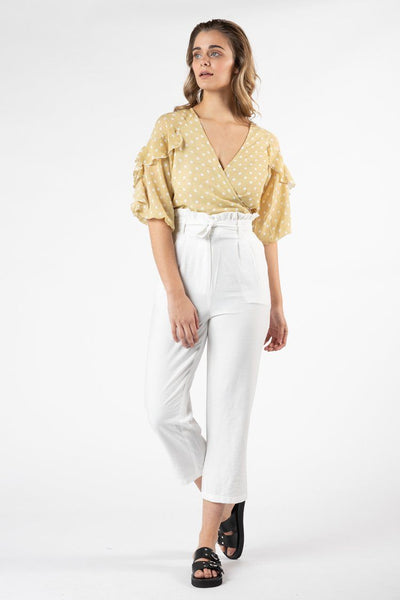 Tarva Frill Pant in White Bottoms SASS