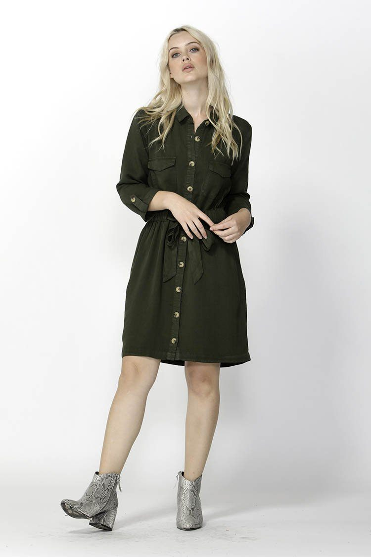 Seeker Belted Shirt Dress in Olive
