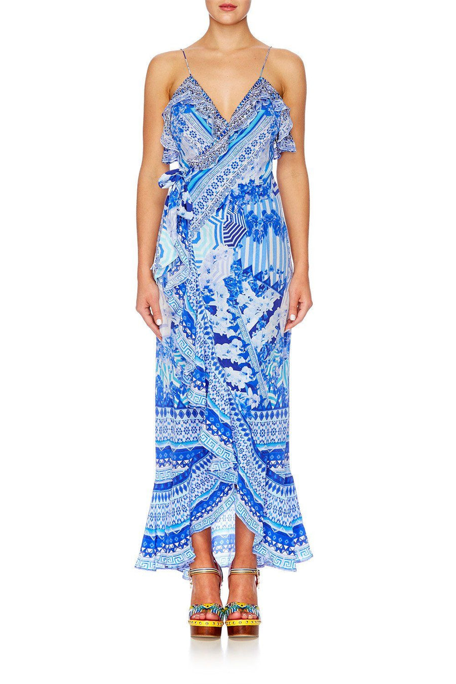 Long Wrap Dress W/ Frill in Throwing Shade