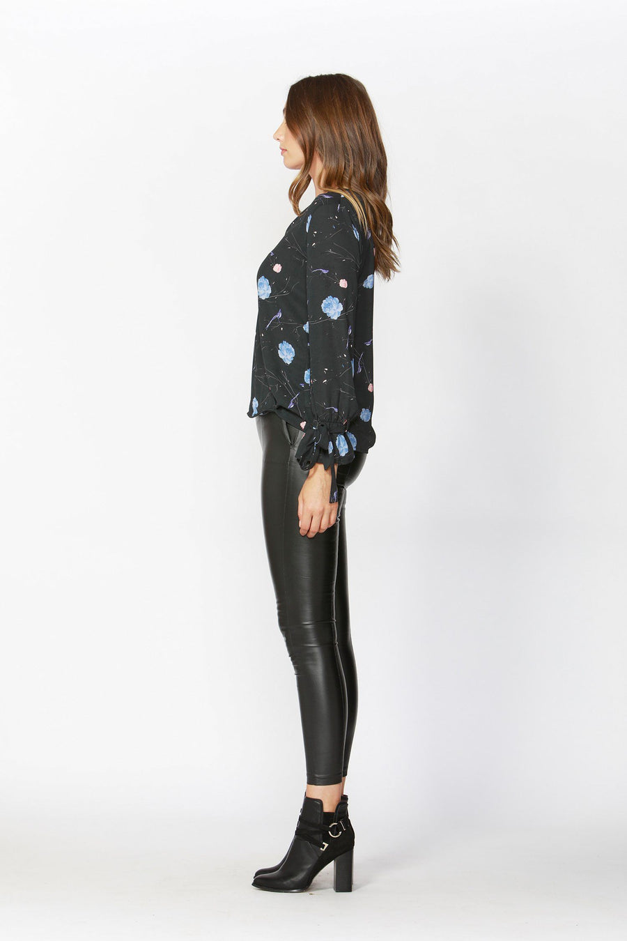 Birds in the Night Wrap Blouse in Charcoal