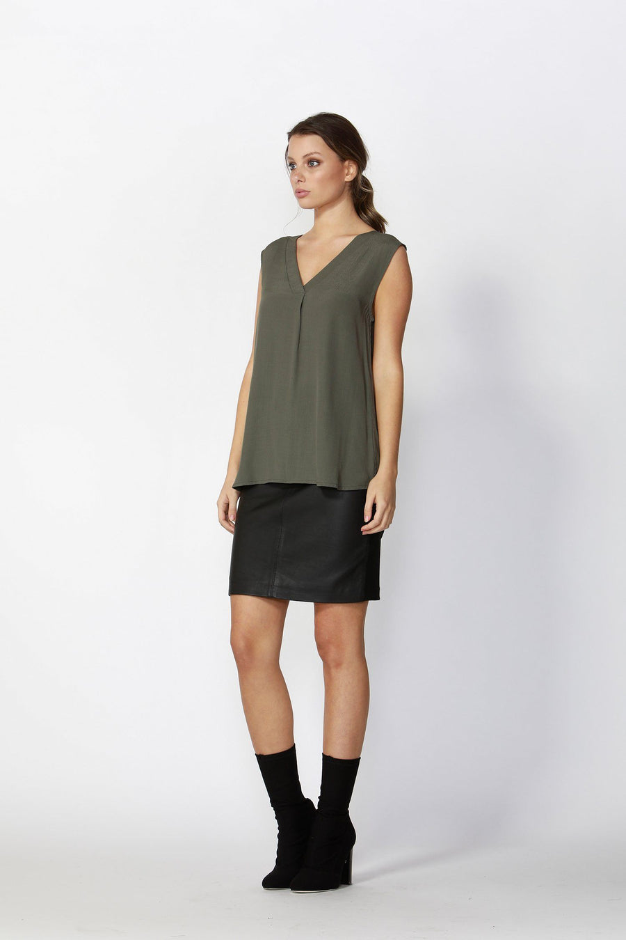 Flora Sleeveless V-Neck Top in Khaki