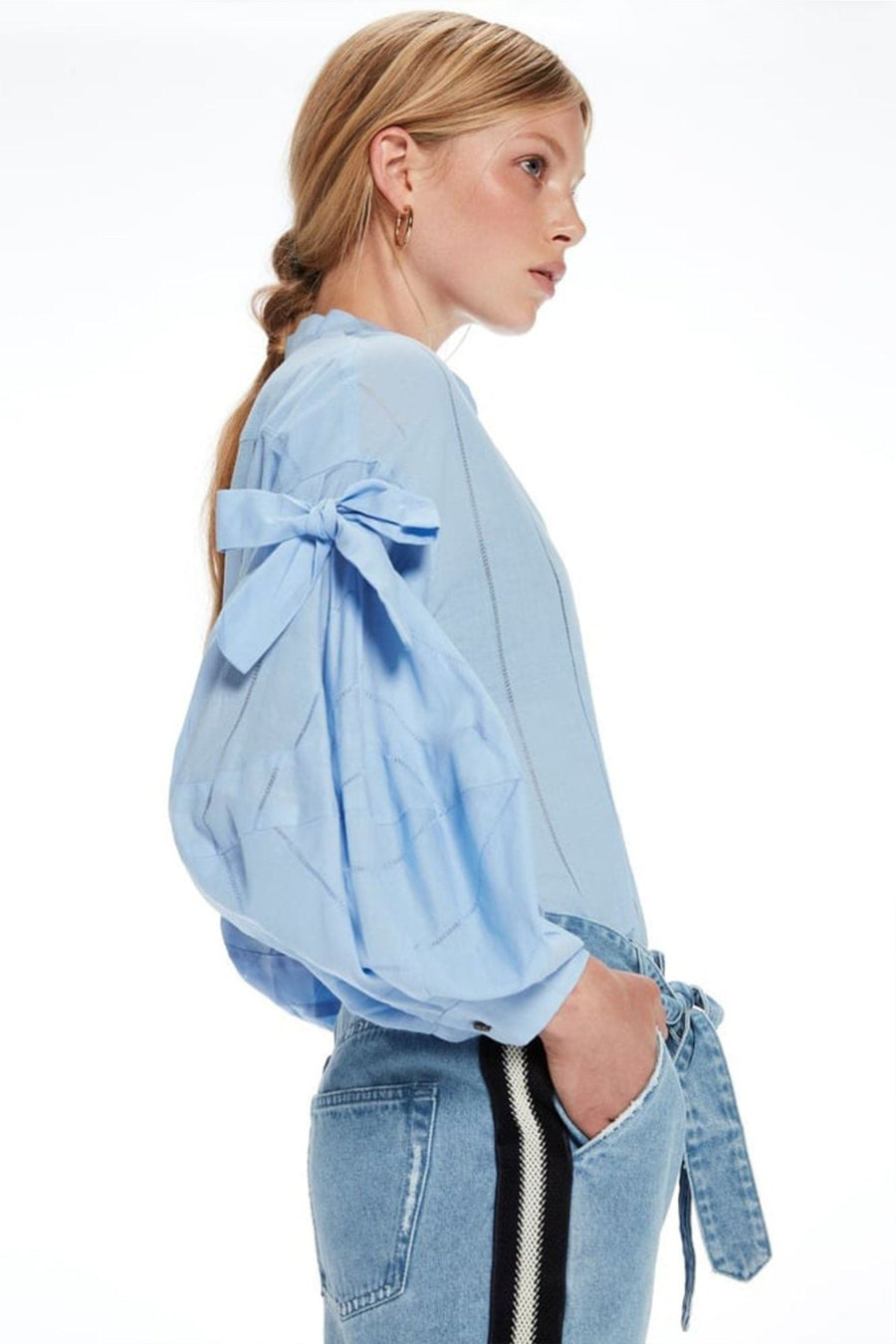 V-Neck Cotton Top in Sky Blue | FINAL SALE