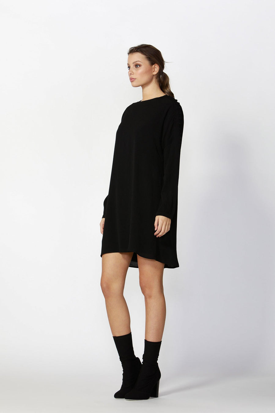 Flora Buttoned Sleeve Dress in Black Antique