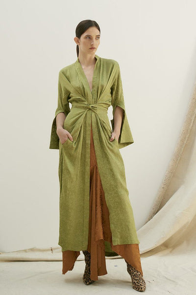 Slink Shirt Dress in Olive Dresses KITX