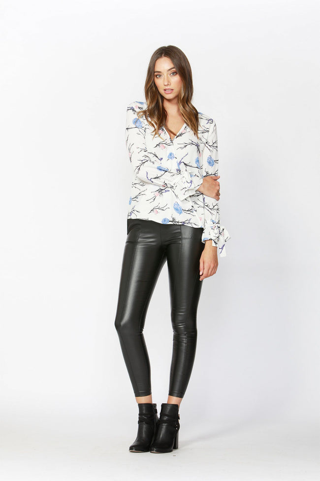 Birds in the Night Wrap Blouse in White