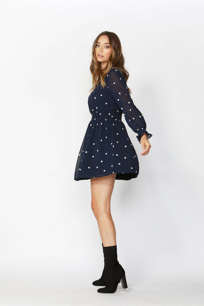 Daisy Fields Embroidered Dress in Midnight