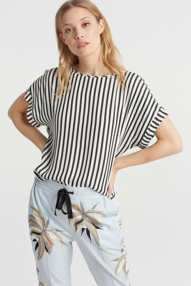 Woven Striped Top in Black