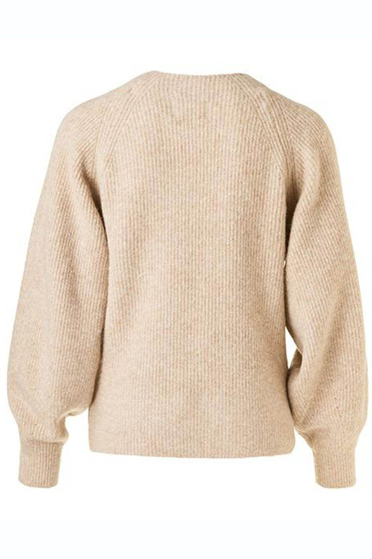 Knitted Puff Slv Sweater in Toffee