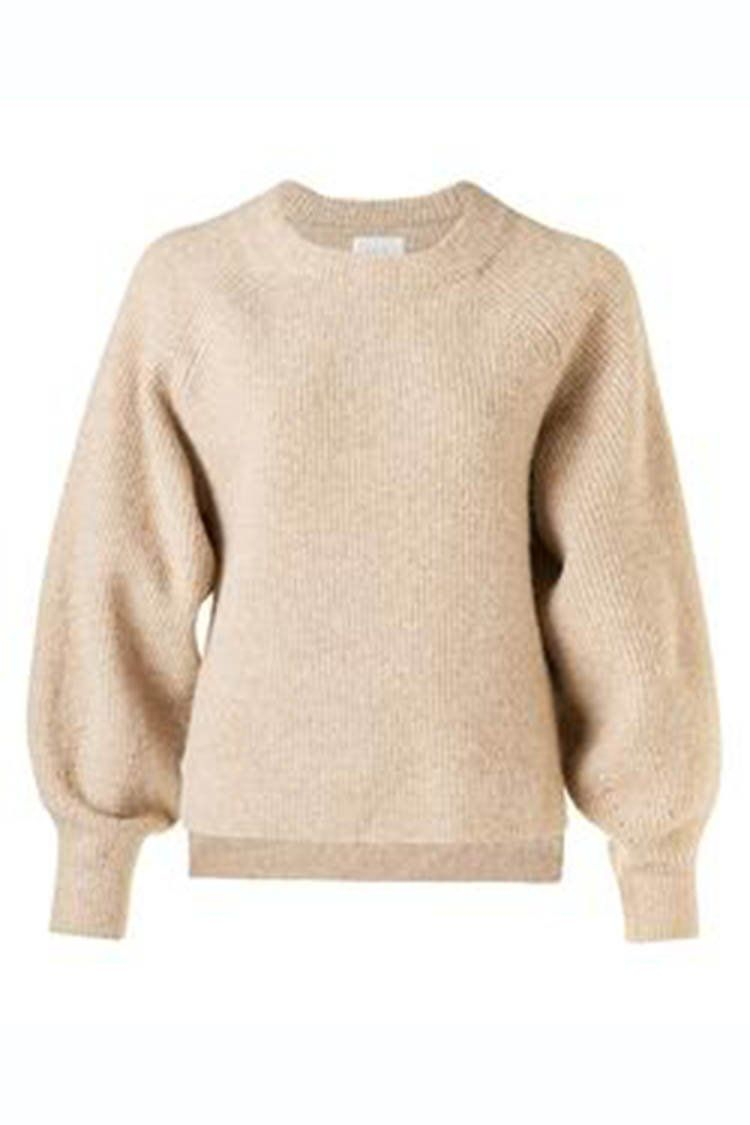 Knitted Puff Slv Sweater in Toffee | FINAL SALE