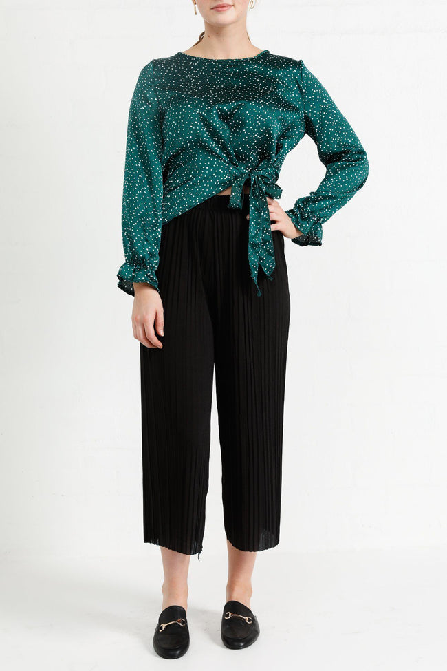 Cecile Long Sleeve Wrap Style Top In Green Polka