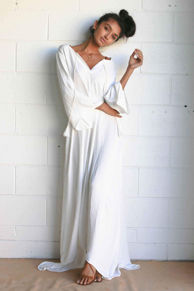 Dreamer Kaftan in White by The Gypsy And The Officer Frockaholics.com