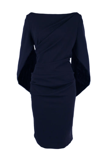 Victoria Cape Dress in Dark Navy