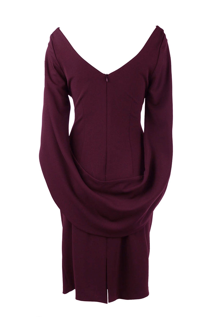Victoria Cape Dress in Wine