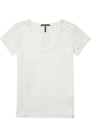 Linen V-Neck T-Shirt in Off White by Maison Scotch Frockaholics.com