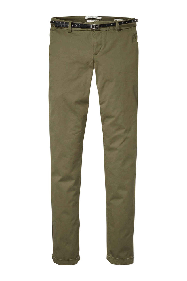 Belted Chinos Slim Fit in Army