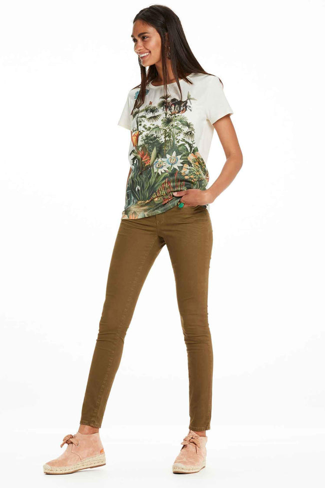 Botanical Photo Print T-Shirt in Off White