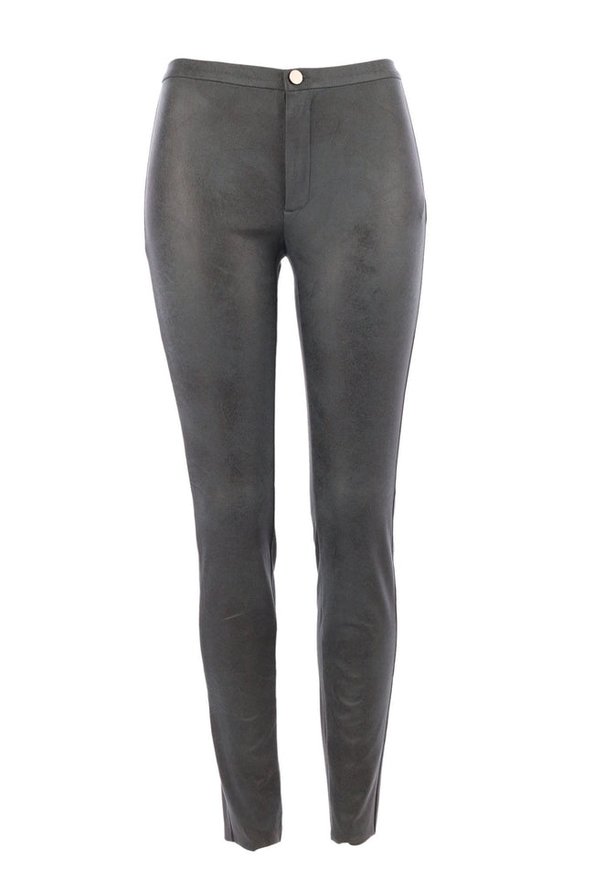 The Jersey Legging Fake Leather in Petrol Green by Yaya