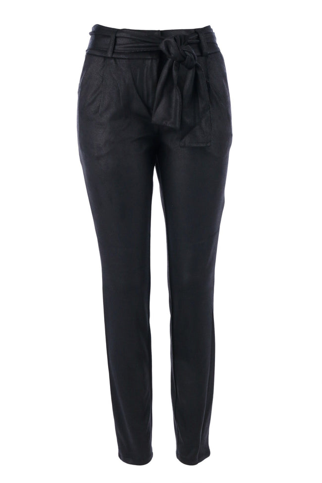 The Pu Pants with Belts in Black by Yaya