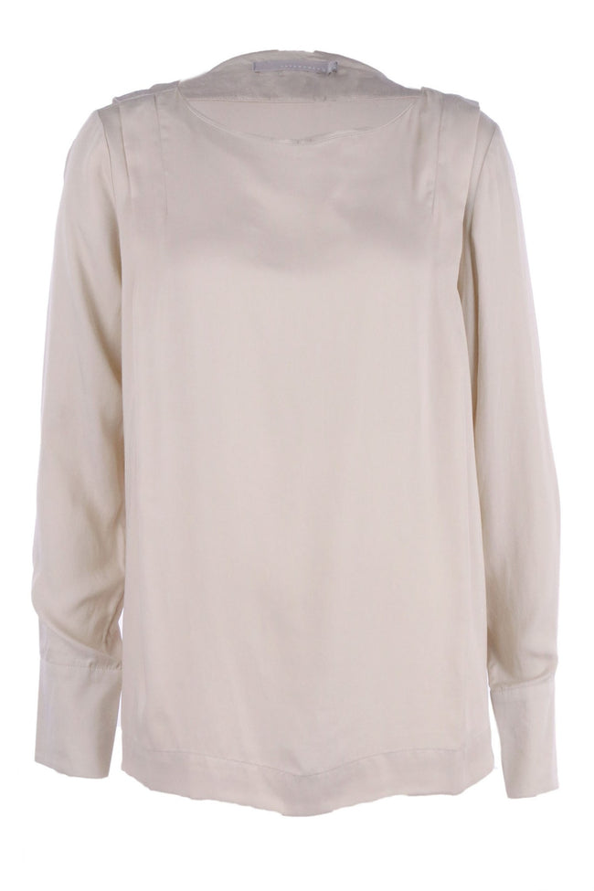 The V Neck Top With Shoulder Pleats in Ivory by Yaya