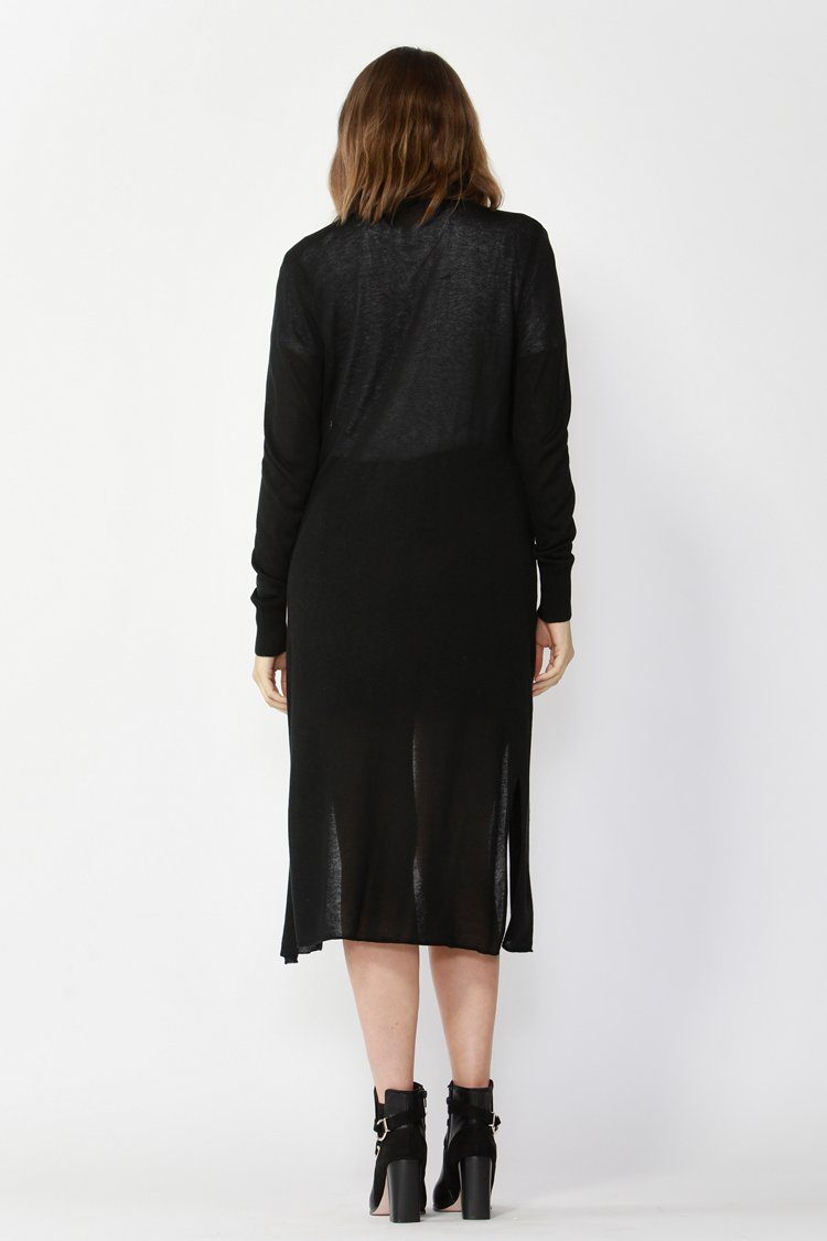 York Linen Blend Long Cardigan in Black