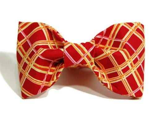 Bow Tie - Red/Gold/Pink Plaid - Bayside Buddy