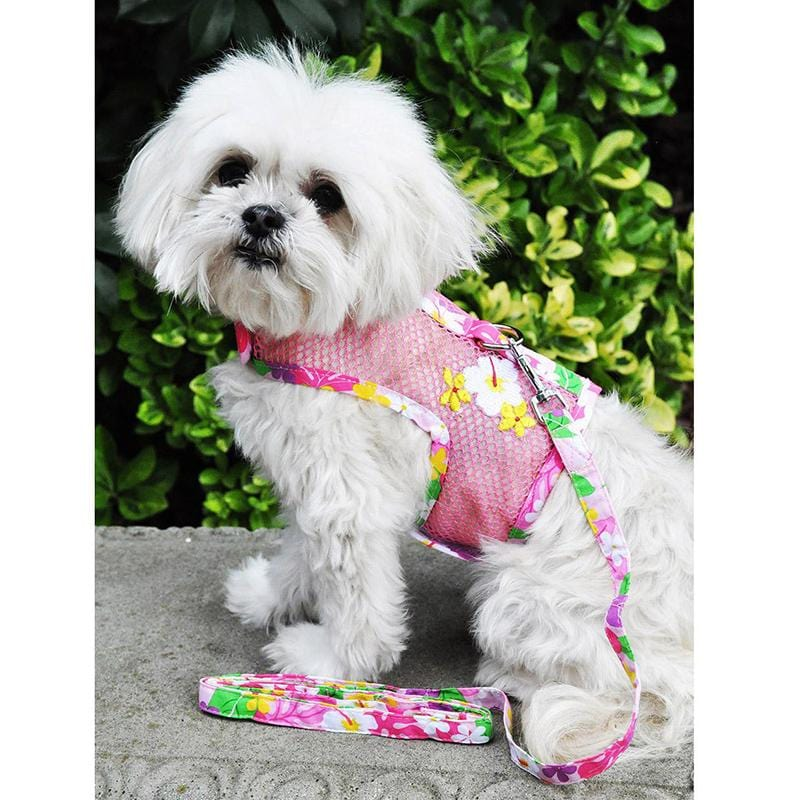 Pink Hawaiian Floral Cool Mesh Harness w/ Leash & D-Ring