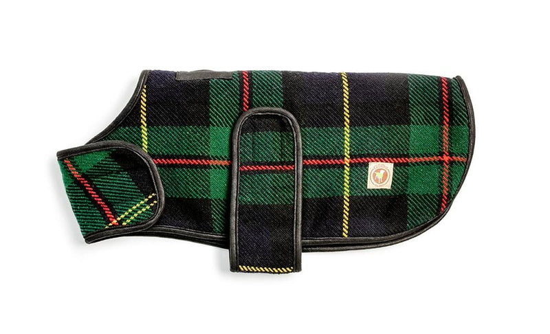 Navy Tartan Blanket Dog Coat
