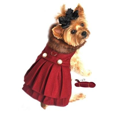 Burgundy Wool Classic Dog Coat Harness and Fur Collar with Matching Leash - Bayside Buddy