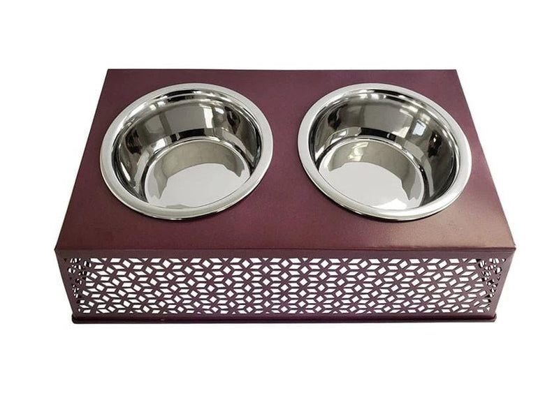 Plum Wine Elevated Double Diner Country w/ two 30oz Stainless Bowls