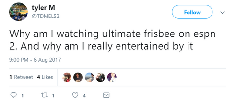 """Why am I watching ultimate frisbee on espn 2. And why am I really entertained by it"""