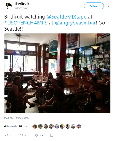 The Seattle Birdfruit watch the games live on TV at the bar.