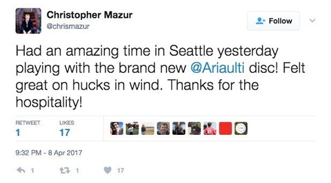 A tweet from Chris Mazur about the ARIA disc.
