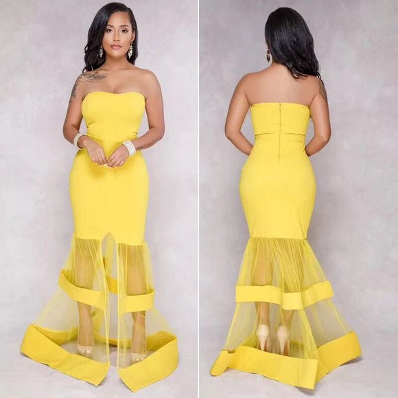 The Malaika Yellow Ruffles Maxi Dress