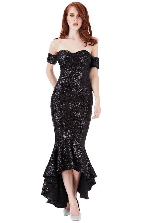 Midnight Princess Sequin Bardott Peplum Maxi Dress