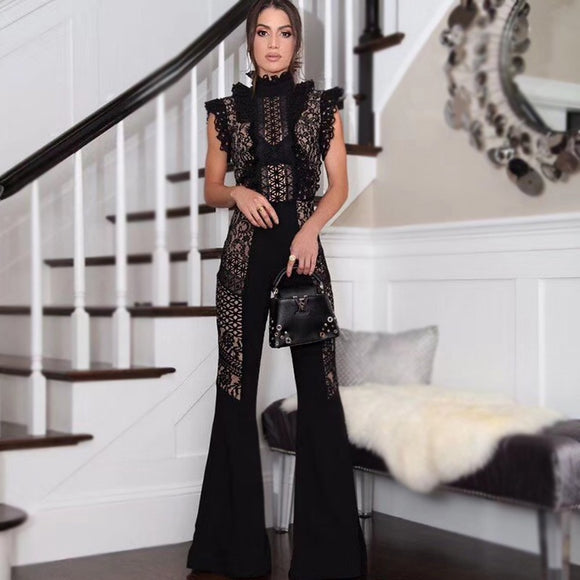 Say My Name Lace Bandage Jumpsuit
