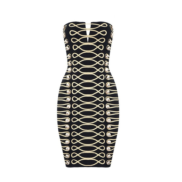 Royalty Reigns Strapless Bandage Dress